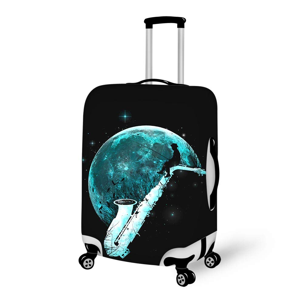 Luggage Cover Catching Tunes Instrument Arts Full Moon Protective Travel Trunk Case Elastic Luggage Suitcase Protector Cover