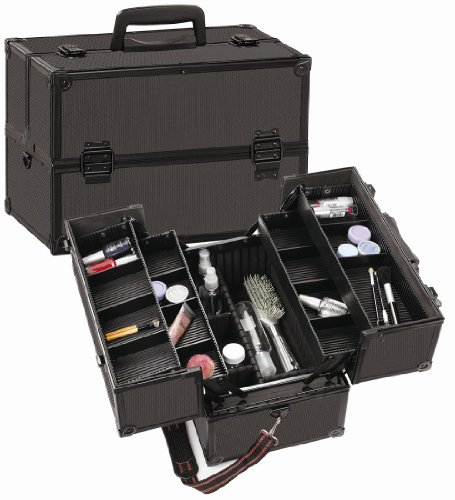 Seya Beauty Cosmetic Train Case with Adjustable Dividers - All Black