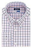 IZOD Men's Dress Shirt Regular Fit Stretch Check, Orange Multi, 17'-17.5' Neck 34'-35' Sleeve