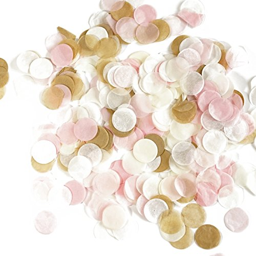 (Premium 1-inch Round Tissue Paper Party Table Confetti - 50 Grams (Blush Pink, White, Ivory, Tan))