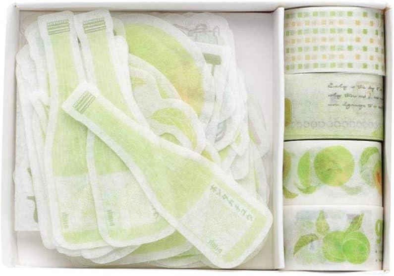 Fruit Washi Tape and Sticker Set for Traveler Notebook, Journal, Scrapbook, Crafting, Photo (Greenplum)