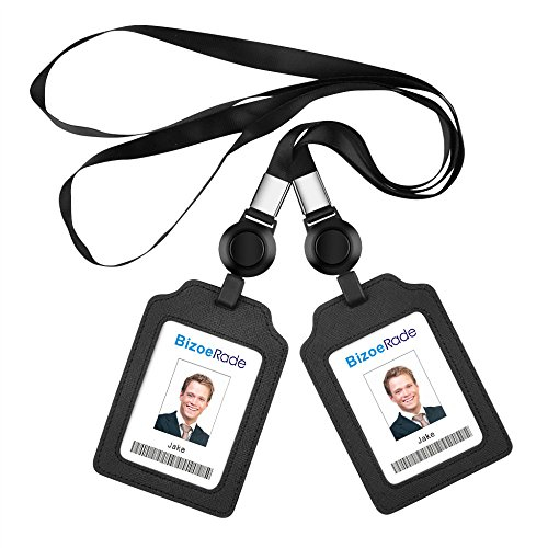 - 2Pack ID Badge Holder with Retractable Lanyard, BizoeRade PU Leather Vertical Card Holder for Bus Pass, Office, Employee, Students(Black)
