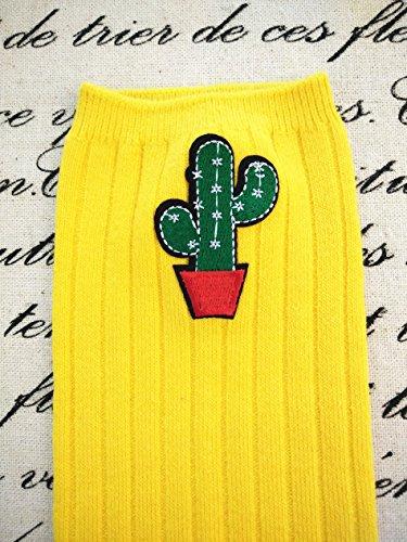 Genou Motif Socquette Cactus Stocking De Jaune 1 6 Acvip Pour En Paire Haute Coton Ans Rayures 2 Imprimé Enfant Fille Chaussette px8qqw71