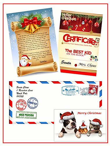Pet Christmas Cards Personalized - Letter From Santa: Personalized Santa letter package (includes Official envelope from Santa's Workshop, Santa Letter, Certificate, and Santa's Pets Sticker)