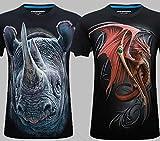 Rinoceronte Negro + Rojo Dragón Negro Hombres 'S T-Camiseta de manga corta Funny Creative 3d 3d t-shirt, Blanco