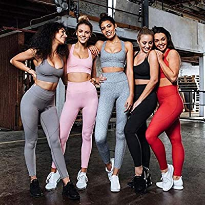 Hotexy Women's Workout Sets 2 Pieces Suits No See Through Yoga Leggings with Stretch Sports Bra Gym Clothes at Women's Clothing store