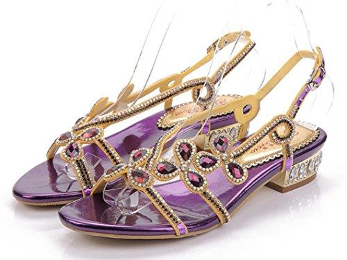 Playa Xie Parte Plano Verano Púrpura 35 Rhinestones Movible Banquete Del Diamante Flores Purplecoarseheel 40 Sandalias Señoras De 3cm Formal Las Inferior Heel Diaria Purple coarse qfq6F