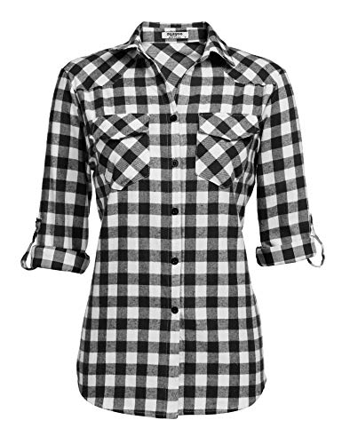Zeagoo Womens Tartan Plaid Flannel Shirts, Roll up Sleeve Casual Boyfriend Button Down Gingham Checkered Shirt,White,XXX-Large