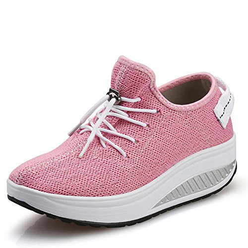 JARLIF Women's Platform Canvas Walking Sneakers - Comfortable Lightweight Lace-up Fitness Shoes (5 B(M) US, Pink)