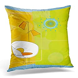 Sdamas Decorative Pillow Cover Starburst Retro Modern 1950S 50S Chair Chic Clock Throw Pillow Case Square Home Decor Pillowcase 16x16 Inches