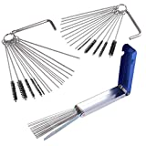 AUTOUTLET 13 Wires Set Carburetor Cleaner Tool Kit + 20 x Cleaning Needle + 10 x Cleaning Brush + 2 x Hexwrench for Motorcycle ATV Moped Welder Carb