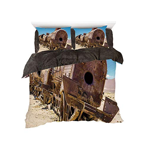 t Set with Bedding Pillow Case Cover for bed width 6ft Pattern by,Vintage,Rusty Old Abandoned Steam Train Locomotive Cemetery Railroad Wreck Picture Print Decorative,Blue Brown ()