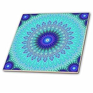 3dRose David Zydd - Star Mandalas - Frozen Mandala - blue abstract design - 12 Inch Ceramic Tile (ct_280109_4)