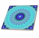3dRose Frozen Mandala Blue Abstract Design Decorative Tiles, 12-inch-Ceramic, Clear