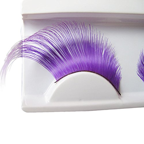 AnHua New Sexy Fun Ladies Styles Handmade Reusable Long Thick Fancy Party Feather False Eyelashes Makeup Eye Lashes (Purple)]()