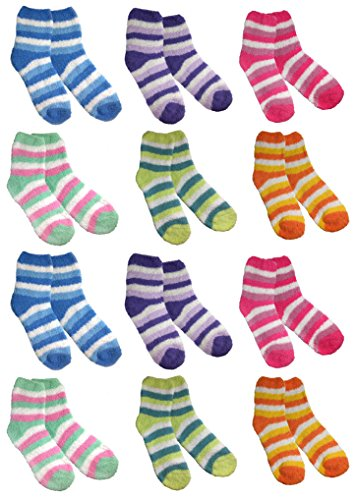 Microfiber Fluffy Chenille Socks Warm Pastel Color Sleeping Socks(12 Pair Set)