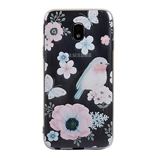 Funda Galaxy J3 2017,EUDTH Suave TPU Gel Funda Case Delgado Silicona Fundas Carcasa Espalda para Samsung Galaxy J3 2017 (5.0 Pulgadas) Datura blanca Flor y pájaro