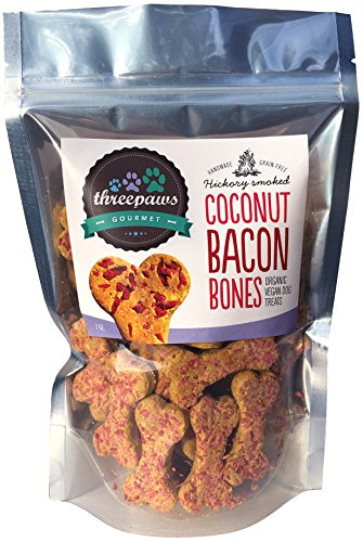 Gourmet Dog Bone (Coconut Bacon Bones, Hickory Smoked Gourmet Organic and Vegan Dog Treats - Gluten Free, Grain Free)