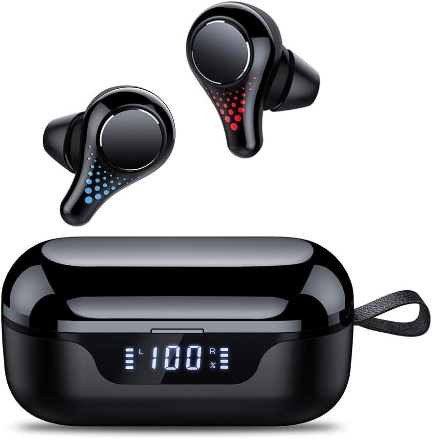 Tiksounds Auriculares Bluetooth, Auriculares Inalámbricos Bluetooth 5.0 500mAh con 30H Playtime, IPX7 Impermeable In-Ear Inalámbricos Estéreo con Caja de Carga y Mic, Pantalla LED y Control Táctil