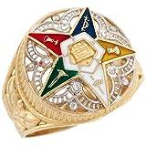 14k Two-Tone Gold Eastern Star Enamel Filigree Stylish Ladies Ring