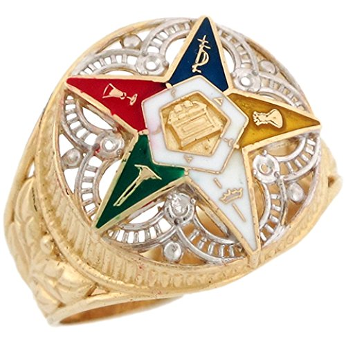 Jewelry Liquidation 14k Two-Tone Gold Eastern Star Enamel Filigree Stylish Ladies Ring