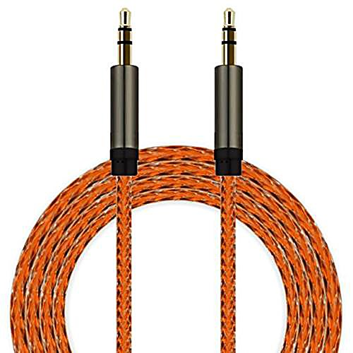 MONOMONO - 3.5mm AUX AUXILIARY CORD Male to Male Stereo Audio Cable For PC iPod MP3 CAR New (Orange)