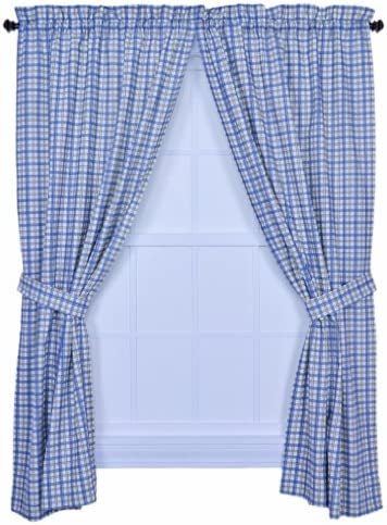 Ellis Curtain Bristol Two-Tone Plaid 68 x 84 Tailored Panel Pair Curtains w/Tieback