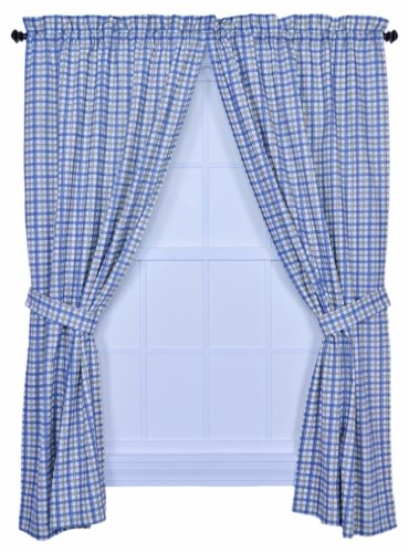 Ellis Curtain Bristol Collection Two-Tone Plaid 68 by 63-Inch Tailored Panel Pair Curtains with Tiebacks, Blue ()