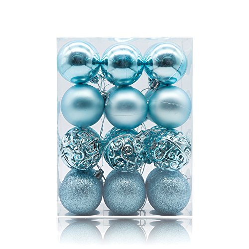 AMS 60mm/24ct Christmas Ball Pierced Trees Pendant Shatterproof Ball Ornament Seasonal Decorations Ideal for Xmas, Holiday and Party Widgets (2.36, Light Blue)