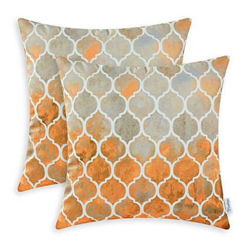 CaliTime Pack of 2 Cozy Throw Pillow Cases Covers for Couch Bed Sofa Manual Hand Painted Colorful Geometric Trellis Chain Print 18 X 18 Inches Main Grey Orange