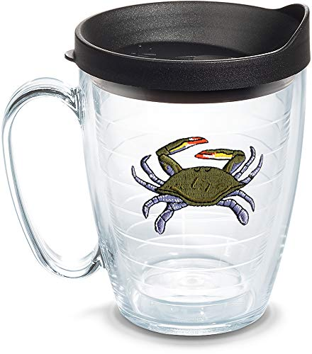 (Tervis 1302172 Blue Crab Insulated Tumbler with Emblem and Lid, 16 oz, Clear)