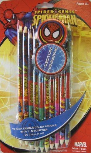 Sharpener Xx (Marvel Comics Spider Sense Spiderman Color Pencil Set with Sharpener - 20 Colors Spiderman Pencil Pack)