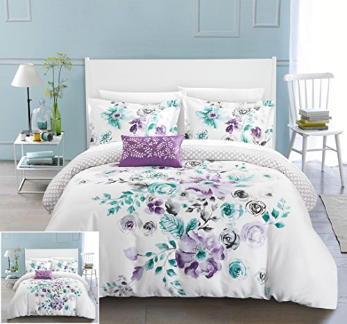 Chic Home 4 Piece Enchanted Garden Reversible Floral Print and Geometric Patterned Technique Queen Duvet Cover Set - Enchanted Duvet Set Cover