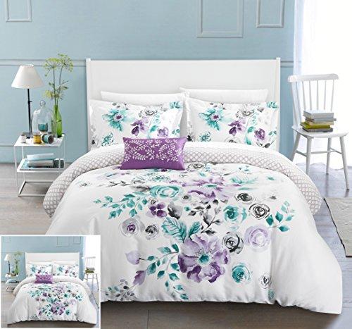 Chic Home 4 Piece Enchanted Garden Reversible floral print and geometric patterned technique Queen Duvet Cover Set (Lavender Duvet Set)