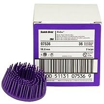 Scotch-Brite(TM) Roloc(TM) Body Man's Bristle Disc, Ceramic, 25000 rpm, 2 Diameter, 36 Grit, Purple (Pack of 4)