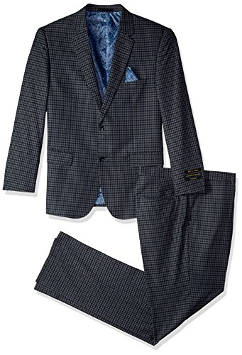 Alexander Julian Colours Men's Big and Tall Single Breasted Modern Fit Check Suit, Grey/Blue, 50 Short by Alexander Julian Colours