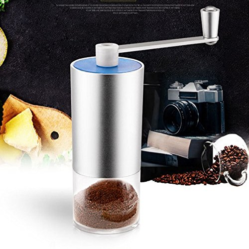 Dirance Aluminum Mini Portable Handheld Coffee Grinder Innovative Manual Grinder (114.5cm, Silver)