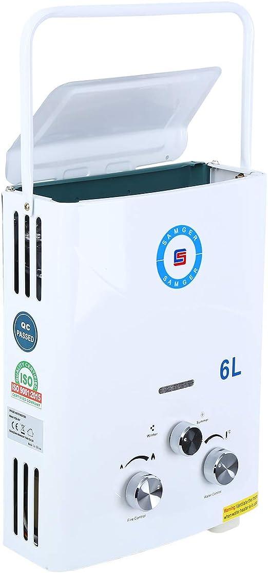 Youwise Calentador de Agua 6L LPG Calentador de Agua portátil sin Tanque de Gas propano para la Cocina casera