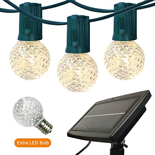 Outdoor String Lights Patio Lights – 40ft G40 Solar Powered LED String Lights Globe Lights with Bulbs Commercial Grade Waterproof Outdoor Hanging Light for Backyard Deck Patio Pergola Porch Pool Party