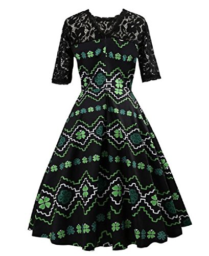Lace Hem ST Print Picture As Big Day Womens Comfy Party Patrick's Cocktail Dress 07qYY5