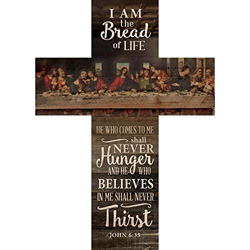 CELYCASY Bread Of Life Last Supper Scene Distressed 20 x 14 Wood Wall Art Plaque Cross