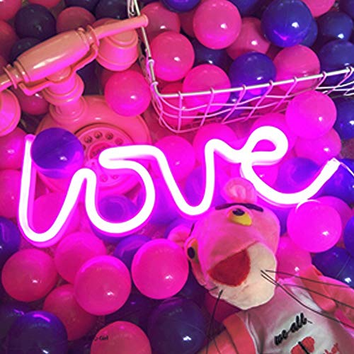 Love Neon Signs, LED Neon Light for Wedding Party Supplies, Girls Room Decoration Accessory, Wall/Table Decoration, Kids Gifts,USB and Battery Operated (Pink)