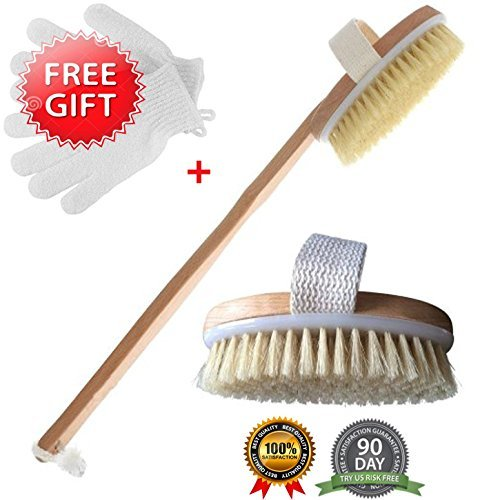 Body Brush for Dry Brushing Body Brush With Wet Exfoliating Gloves By Brooklyn Beauty. A Great Gift for Men and Women