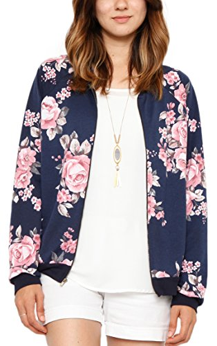 NENONA Women's Lightweight Quilted Zipper Floral Printed Jacket Short Bomber Jacket Coat(Blue-L)