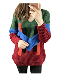 Women's Fashion Knitted V-Neck Casual Long Sleeve Pullovers Sweater Cardigan