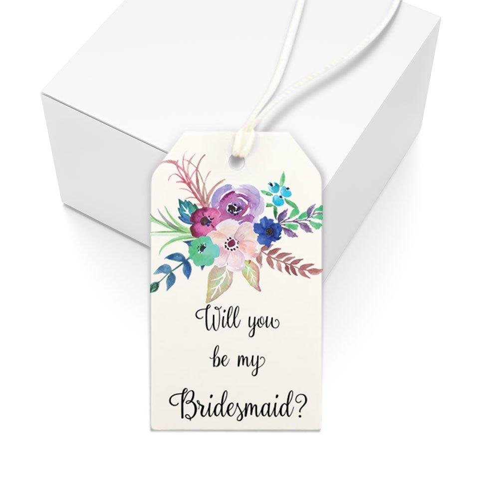 Will You Be My Bridesmaid Gift Tag, Bridesmaid Box, Floral Illustration Wedding Party Proposal Gift, Set of Tags