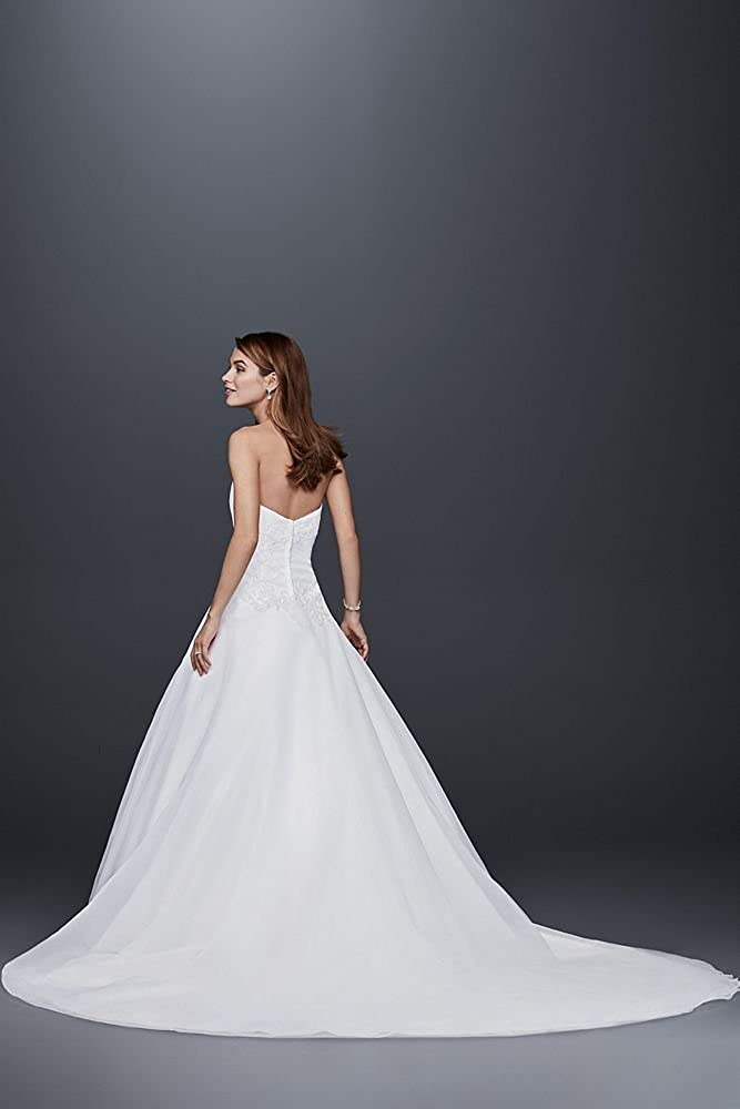 Sample As-is Strapless Tulle Wedding Dress with Lace Style AI10012384 David/'s Bridal