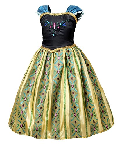Cotrio Little Girls Anna Coronation Dress Princess Anna Costume Dress up Halloween Cosplay Party Fancy Dresses Size 4T (110, Green 02) by Cotrio (Image #2)