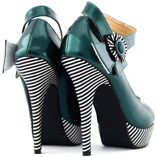 historia bombas plataforma raya estilete Sexy Mostrar de zapatos tobillo Verde flor oscuro correa LF30404 TxBxdqv