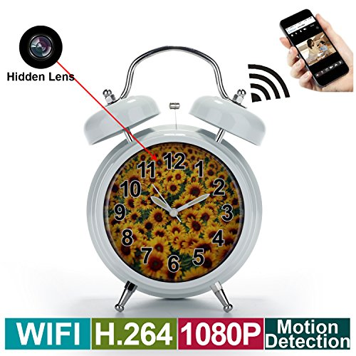 Spy Camera, Wireless Hidden Camera in Clock- HD 1080P, H.264 Video Recorder, Motion Detection, Loop Recording, WiFi Remote View via Android iPhone APP- Nanny Camera for Indoor Home Security Monitor by TOQI